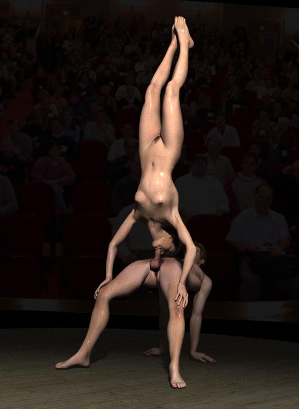 мне дико трахнул гимнастку цирка лег спину