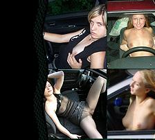 big tits in a car